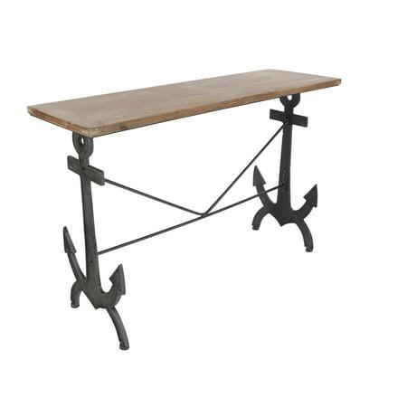 - Decmode Coastal 31 X 48 Inch Rectangular Metal and Fir Wood Anchor Design Console Table, Brown