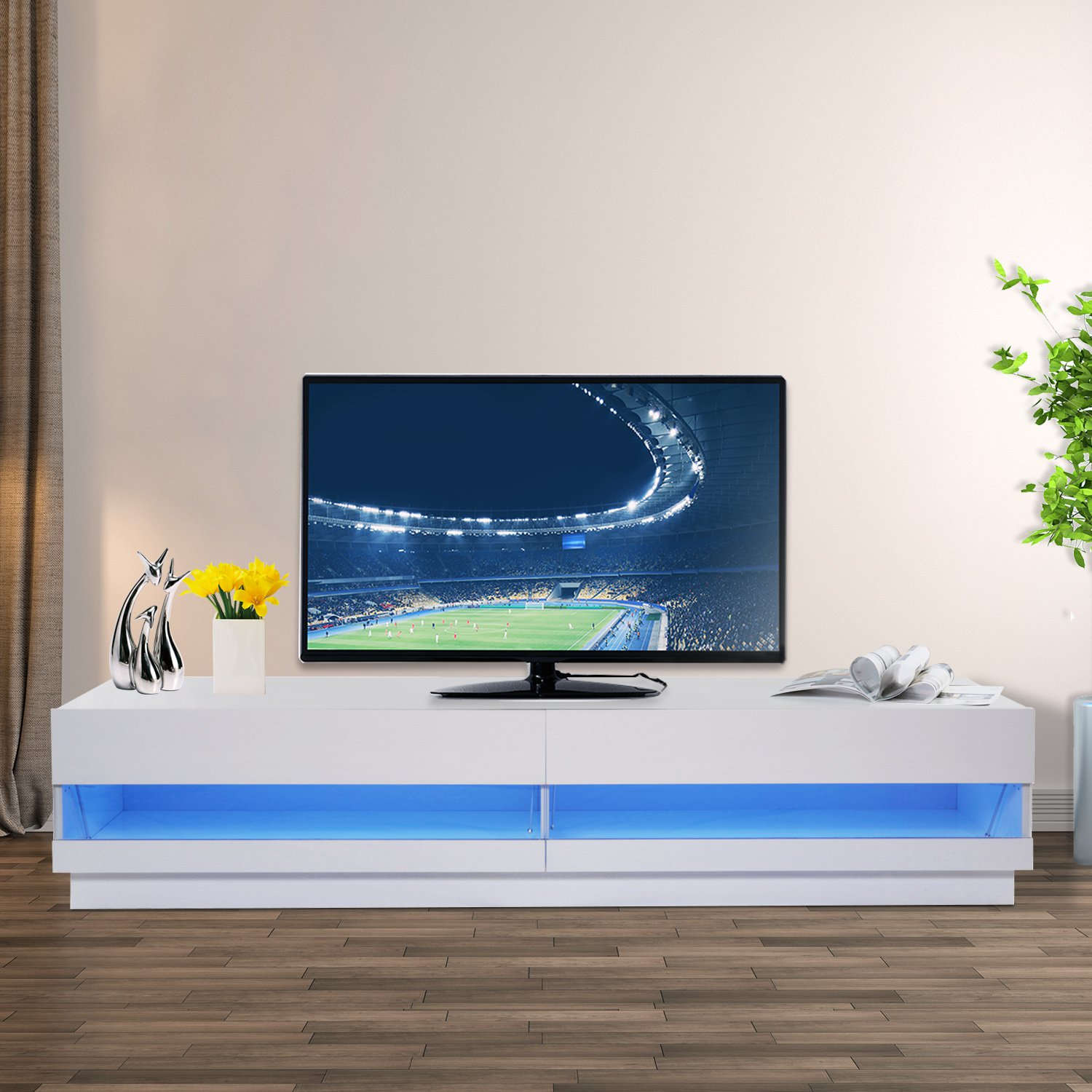 Fohufo 65-inch TV Entertainment Center Bracket 12-Color LED TV Cabinet with Remote Control Lights High-Gloss TV Cabinet with Storage and 2 Drawers 65-inch Living Room Entertainment Center
