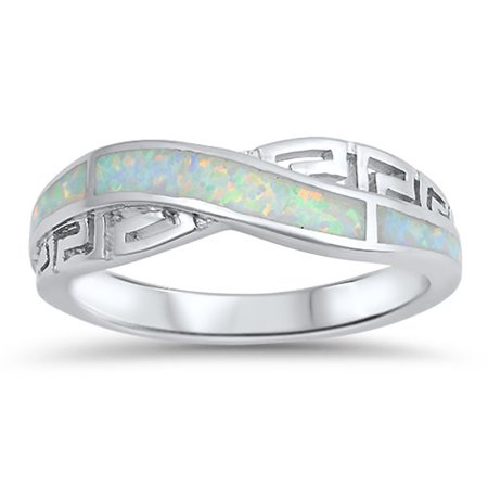 CHOOSE YOUR COLOR Infinity Knot Greek Key White Simulated Opal Ring .925 Sterling Silver Band 925 Sterling Silver Key Ring