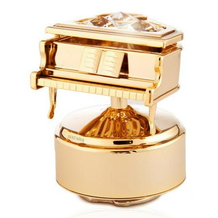 - Matashi  24K Gold Plated Grand Piano Rotating Musical Figurine with Genuine  Crystals