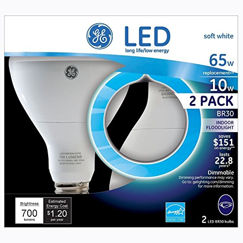 GE LED 10W Soft White, BR30 Indoor Flood Medium Base, Dimmable, 4pk Light Bulbs