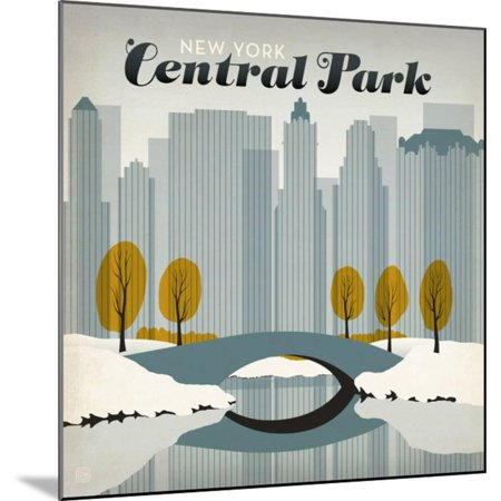 New York City: Early Snow In Central Park Art Deco Winter Travel Advertisement Wood Mounted Print Wall Art By Anderson Design Group - Halloween City Winter Park
