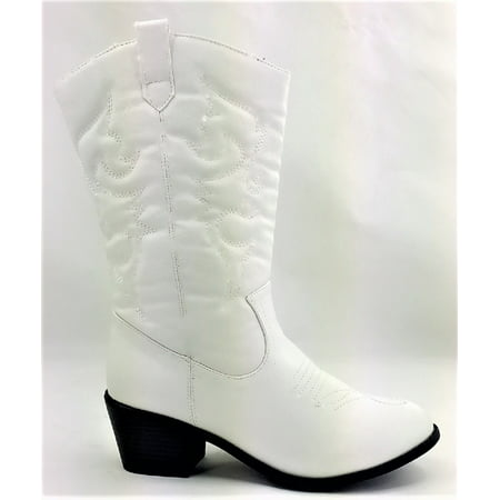 White Cowboy Boots For Wedding (BDW-14W Western Cowboy Cowgirl Mid Calf Pointed Toe Stitched Boots)
