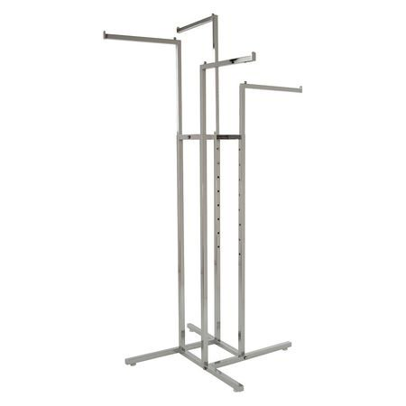 Econoco Clothing Rack – Heavy Duty Chrome 4 Way Rack, Adjustable Height Arms, Square Tubing, Perfect for Clothing Store Display With 4 Straight Arms