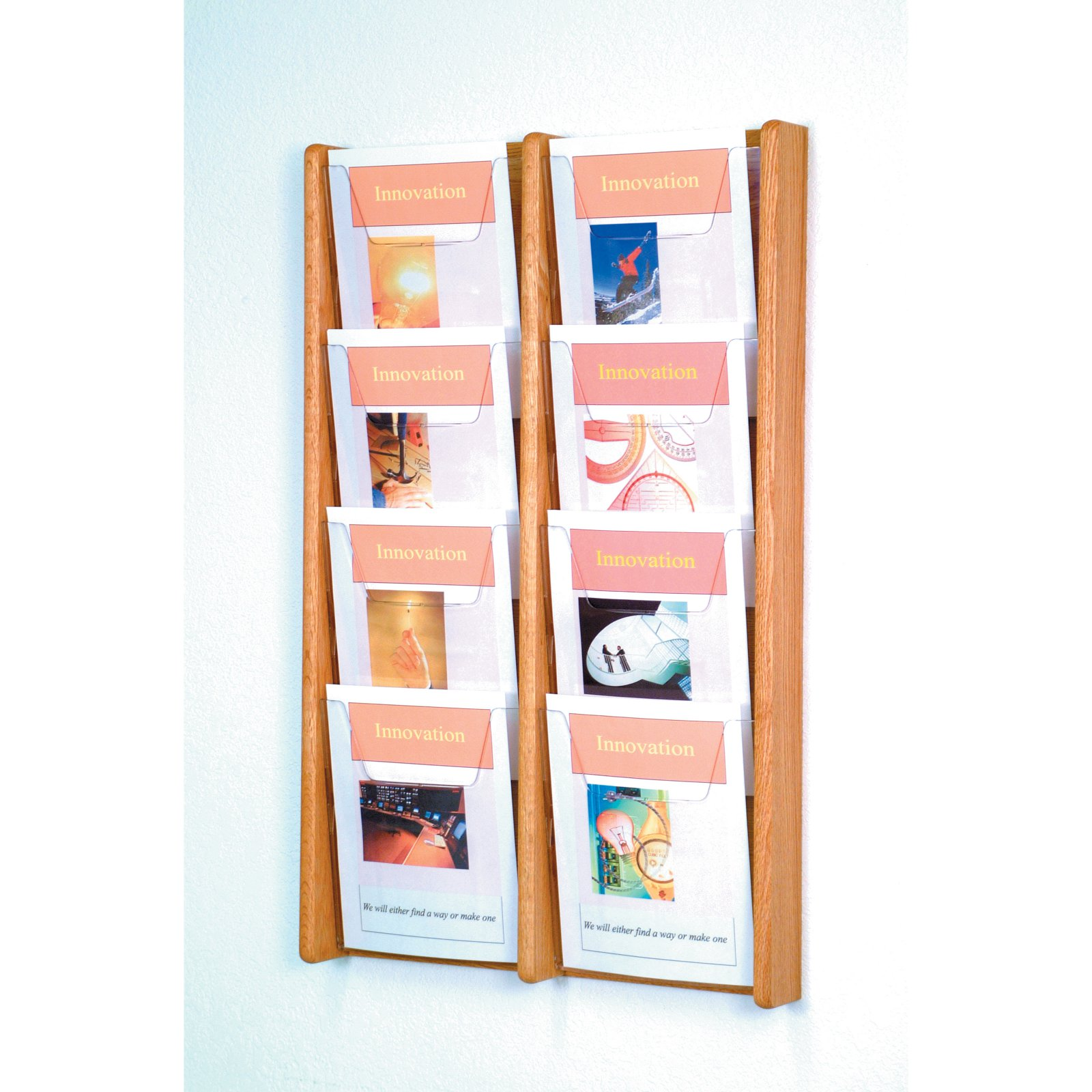 8-Pocket Solid Wood Wall Magazine Rack by Wooden Mallet