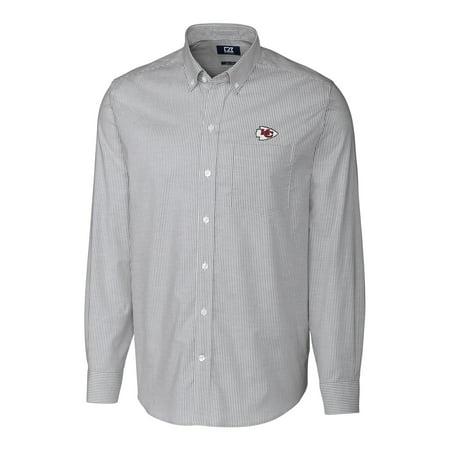 check out 29776 df8a3 Kansas City Chiefs Cutter & Buck Big & Tall Stretch Striped Oxford Long  Sleeve Woven Button Down Shirt - Charcoal