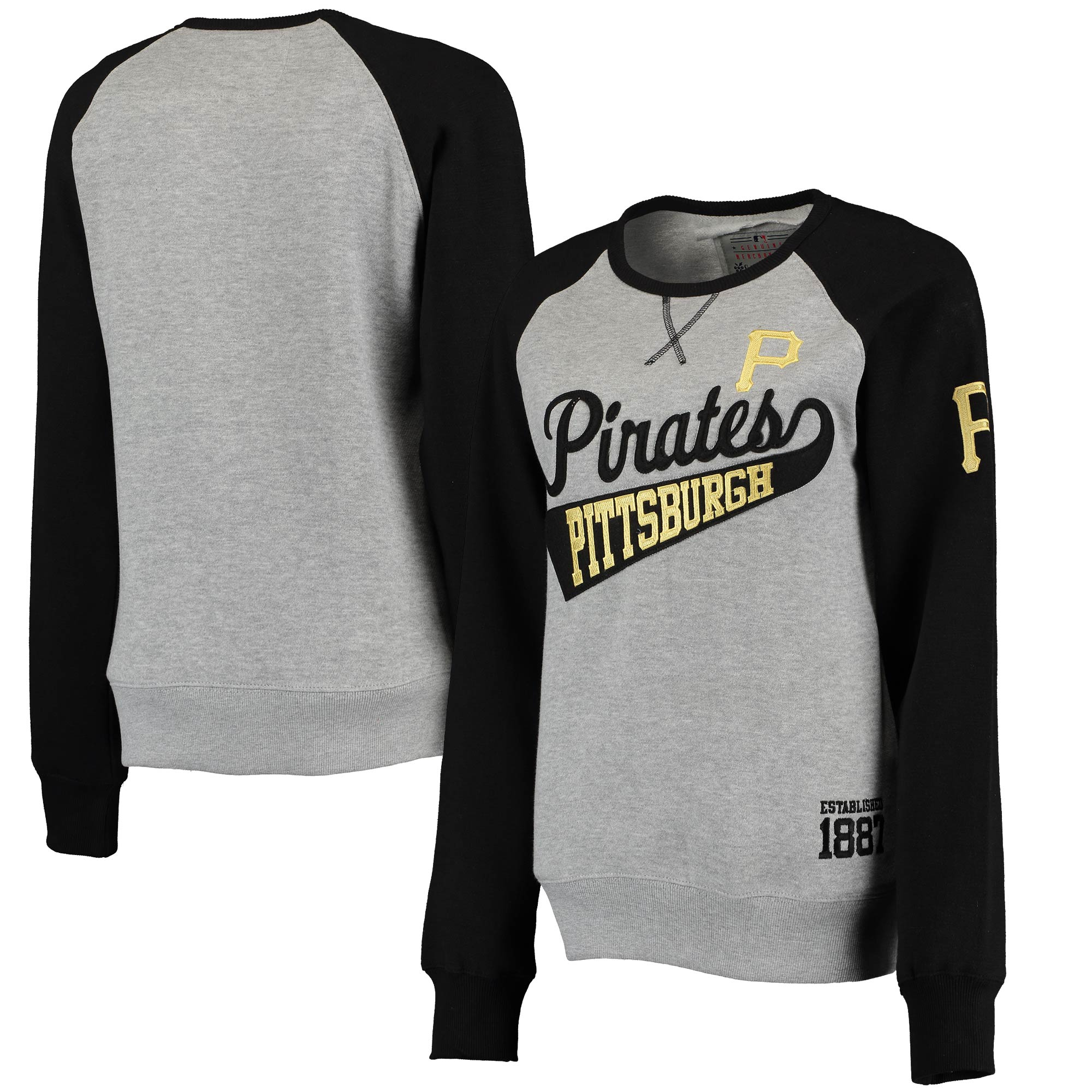 Pittsburgh Pirates Soft as a Grape Women's Biowashed Dugout Fleece Crew Neck Sweatshirt - Gray/Black