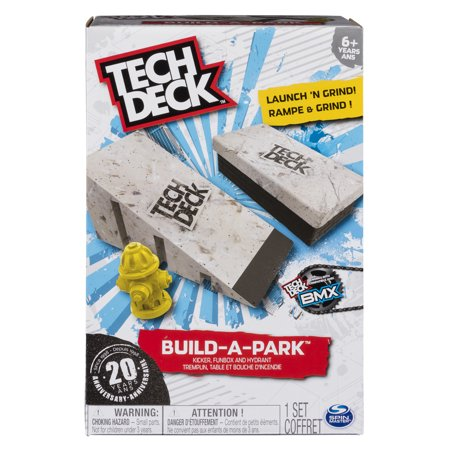 Tech Deck - Build-A-Park – Kicker, Funbox, and Hydrant – Ramps for Tech Deck Board and Bikes (Tech Deck Ramp With Rail)