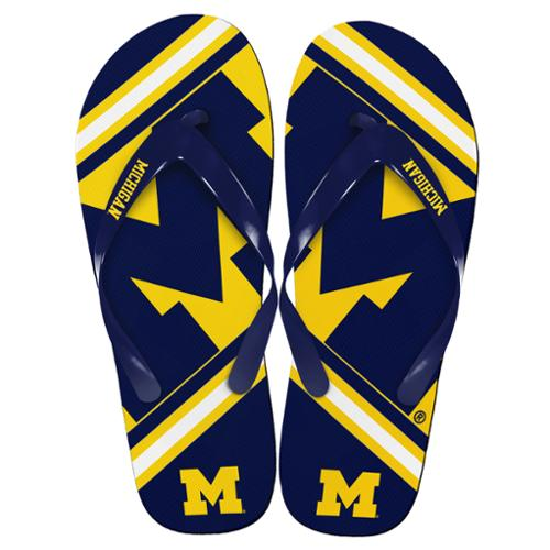 Michigan Wolverines Unisex Big Logo Flip Flops