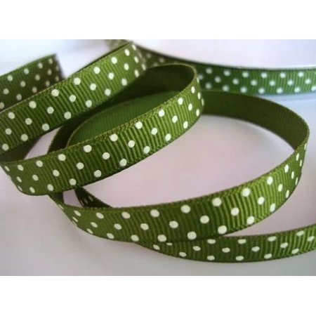 "50 yards Army green/white Swiss Polka Dots Grosgrain 3/8"" Ribbon 9mm/Craft/Supply R79-28"