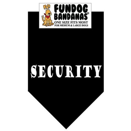 Fun Dog Bandana - SECURITY - One Size Fits Most for Med to Lg Dogs, black pet (Dog Bandanna)
