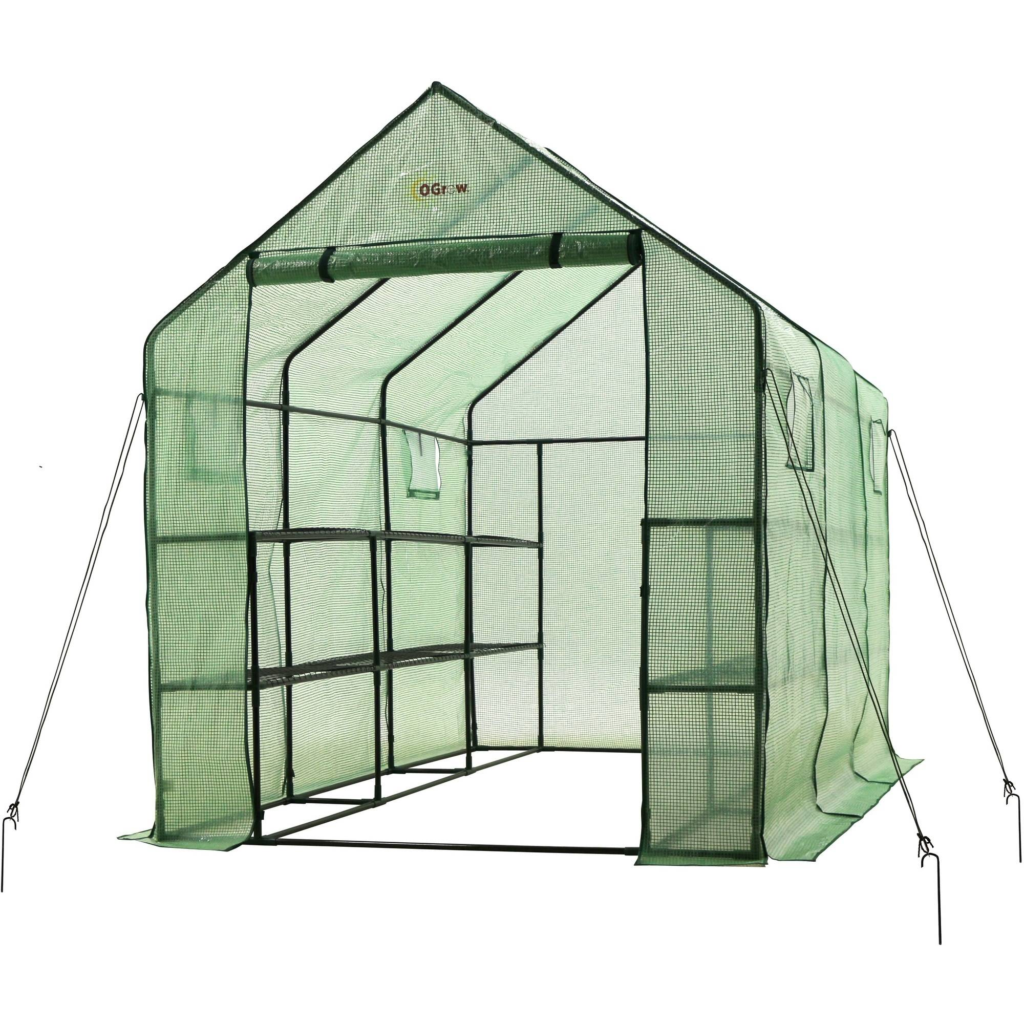 Ogrow Very Spacious and Sturdy Walk-In 2-Tier 12-Shelf Portable Garden Greenhouse with Windows