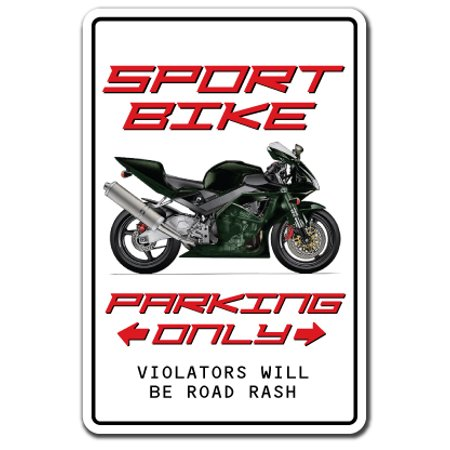 "SPORT BIKE parking Decal motorcycle cycle rider biker helmet | Indoor/Outdoor | 5"" Tall"