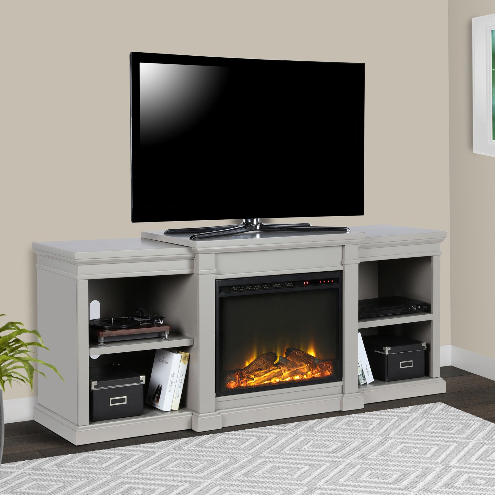 Click here to buy Ameriwood Home Manchester Electric Fireplace TV Stand for TVs up to 70\ by Ameriwood.