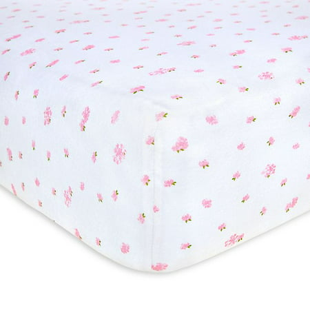 Burts Bees Baby Butterfly Garden Organic Cotton Fitted Crib Sheet in Blossom
