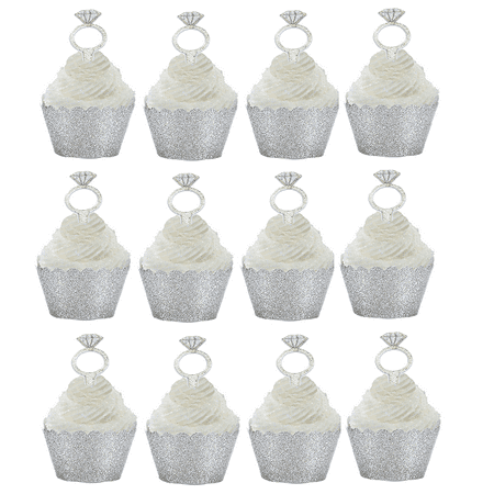 12pk Diamond Ring Wedding Bridal Shower Cupcake Toppers w Silver Glitter Wrappers