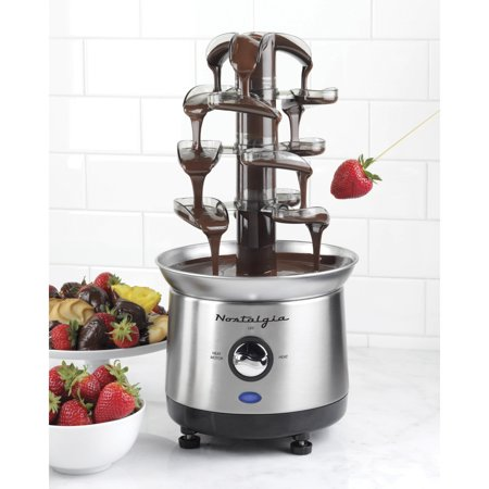 Nostalgia CFF1000 2 lb Capacity Cascading Chocolate Fondue Fountain, Stainless Steel