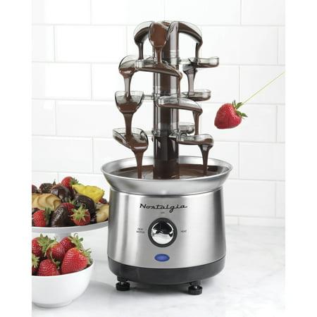 Nostalgia CFF1000 2 lb Capacity Cascading Chocolate Fondue Fountain, Stainless Steel