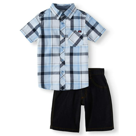 Swiss Cross Short Sleeve Plaid Button Up with Jean Short, 2-Piece Outfit Set (Little Boys)