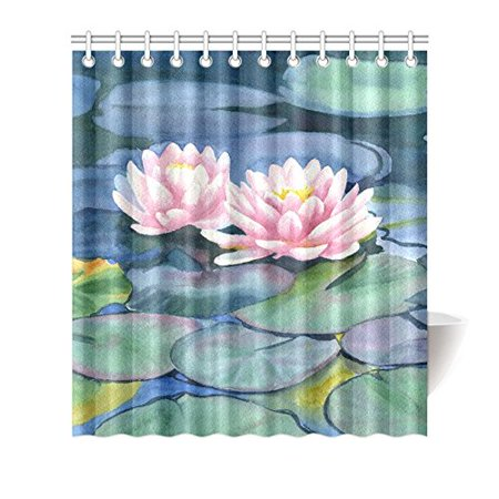 YUSDECOR Pink Water Lilies Flowers with Colorful Pads Waterproof Fabric Shower Curtain Set for Bathroom 66x72 inch - image 1 de 1