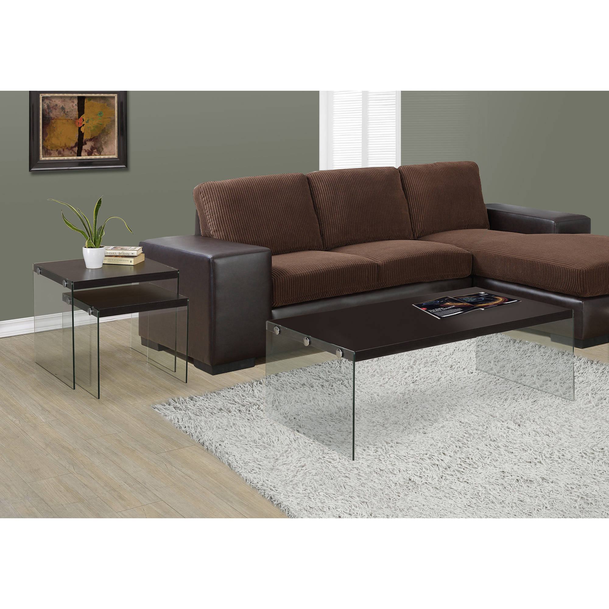 Monarch Coffee Table Glossy Grey With Tempered Glass   Walmart.com