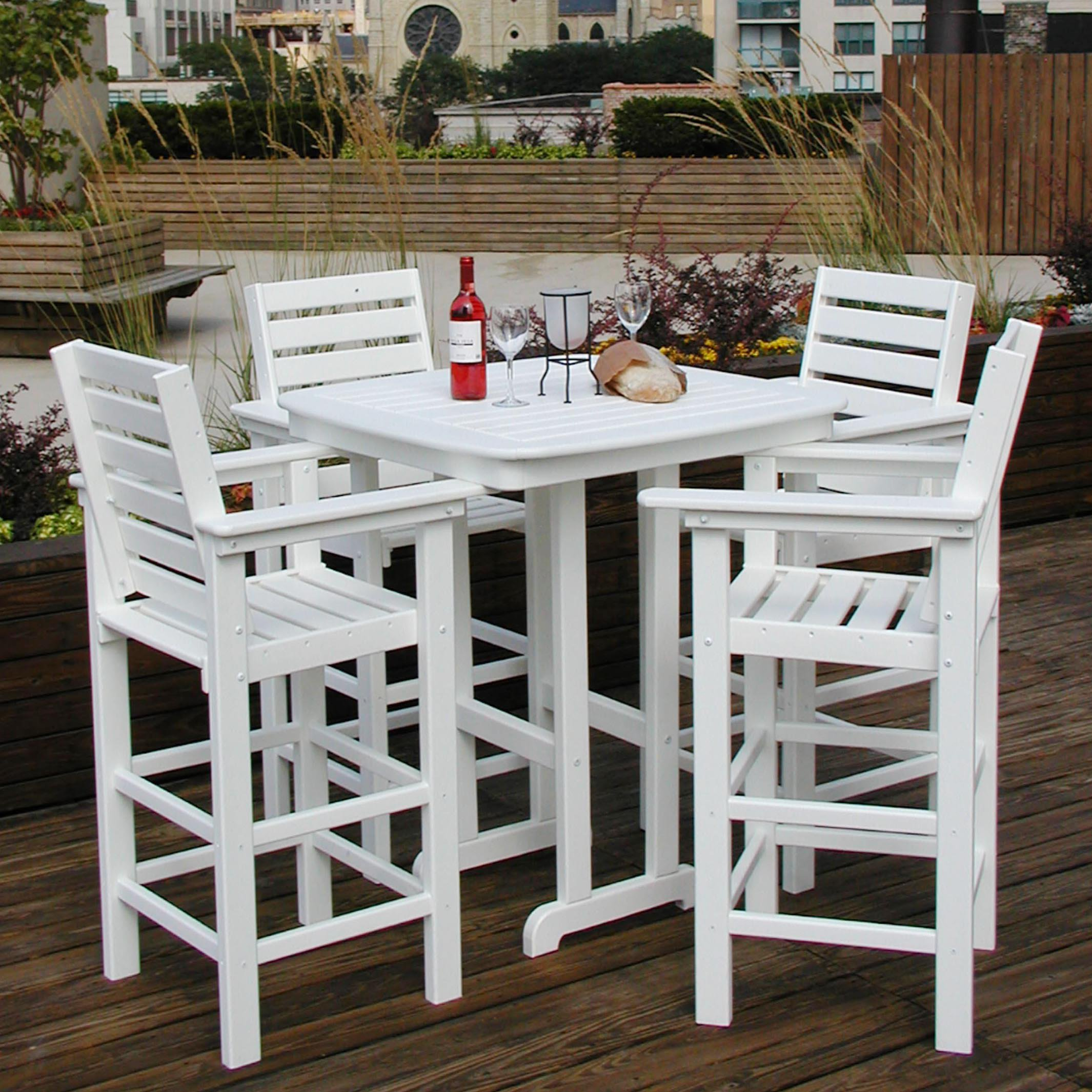POLYWOODu0026reg; Captain 5 Pc. Recycled Plastic Bar Height Dining Set    Walmart.com