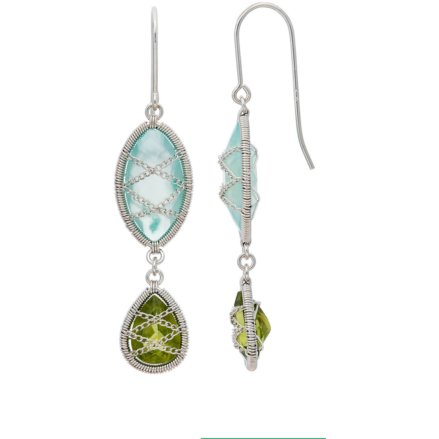 5th & Main Sterling Silver Hand-Wrapped Double Drop Chalcedony and Peridot Stone Earrings by Generic