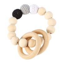 EECOO Handmade Natural Wooden Baby Teether Bracelet Crochet Beads Teething Ring Infant Toy Gift Baby Teether Baby Teething Toy