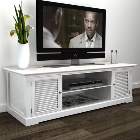 Wooden TV Stand TV Console with Four Shelves Two Doors (White) ()