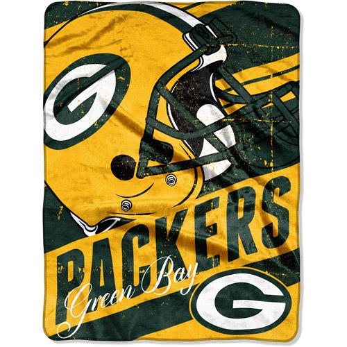 "NFL Micro Raschel Deep Slant 50"" x 60"" Throw, Green Bay Packers"