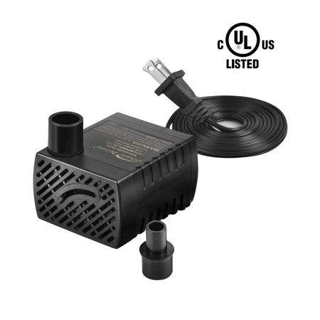 Simple Deluxe 80 GPH Submersible Pump with Adjustable Intake & 6' Waterproof Cord for Hydroponics, Aquaponics, Fountains, Statuary, Aquariums & more, 1 year
