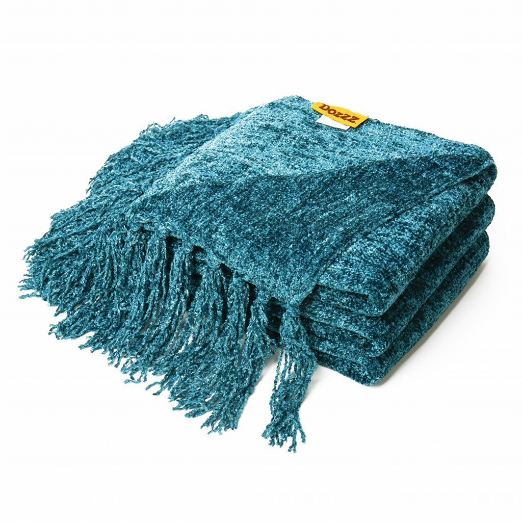 Lovely DOZZZ Luxury Decorative Throw Blanket Sofa / Couch Chenille Throw Blanket  60 X 50 Inches,Teal