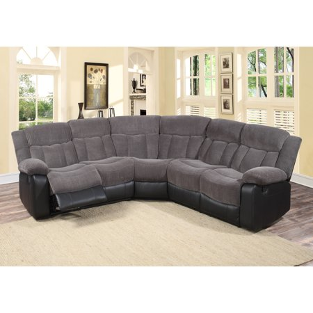 Aubrey 3 Pc Grey Fabric Living Room Reclining Sectional Sofa Set