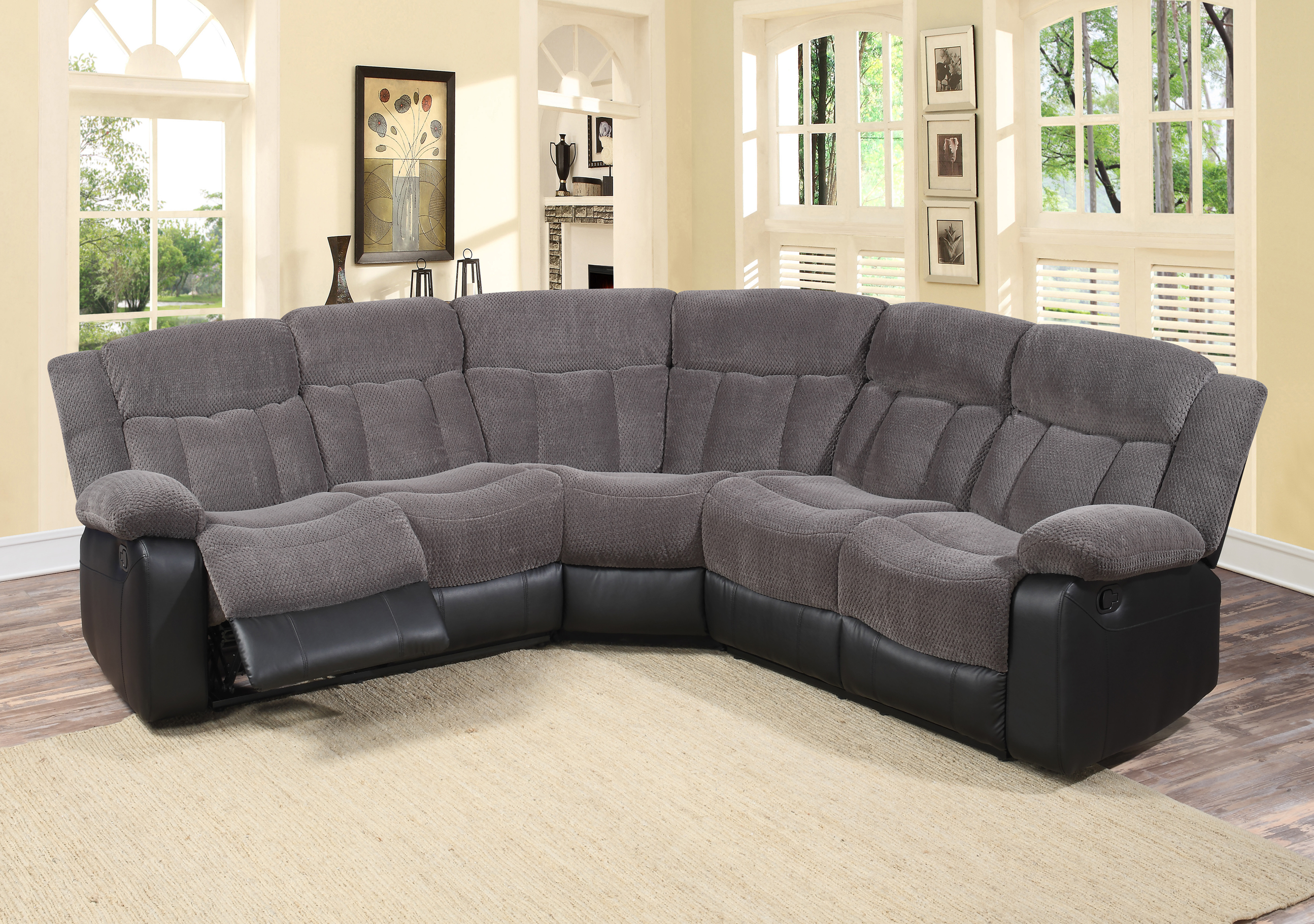 aubrey 3 pc grey fabric living room reclining sectional sofa set 3 piece sectional sofa