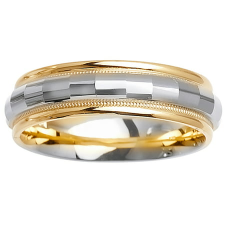 14K Two Tone Gold Center Runway Modern Comfort Fit Men's Wedding Band (6mm)