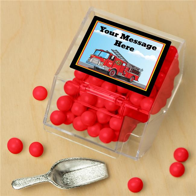 Costume Supercenter BB1401CBS Fire Truck Personalized Candy Bin with Candy Scoop