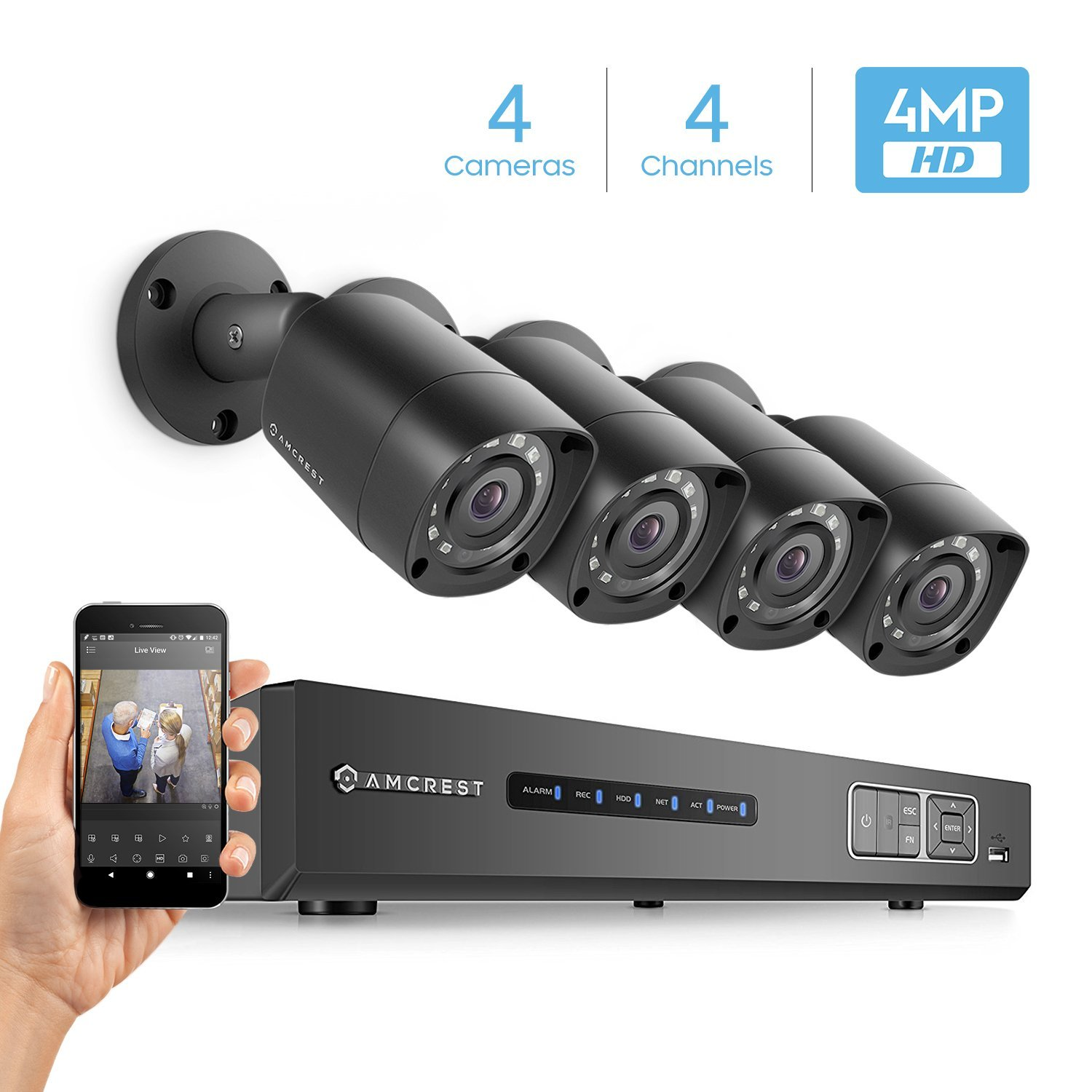 Amcrest Full-HD 1080P 4CH Video Security System w/ Four 2.0 MP (1920TVL) Outdoor IP67 Bullet Cameras, 66ft Night Vision, HDD Not Included, Eco