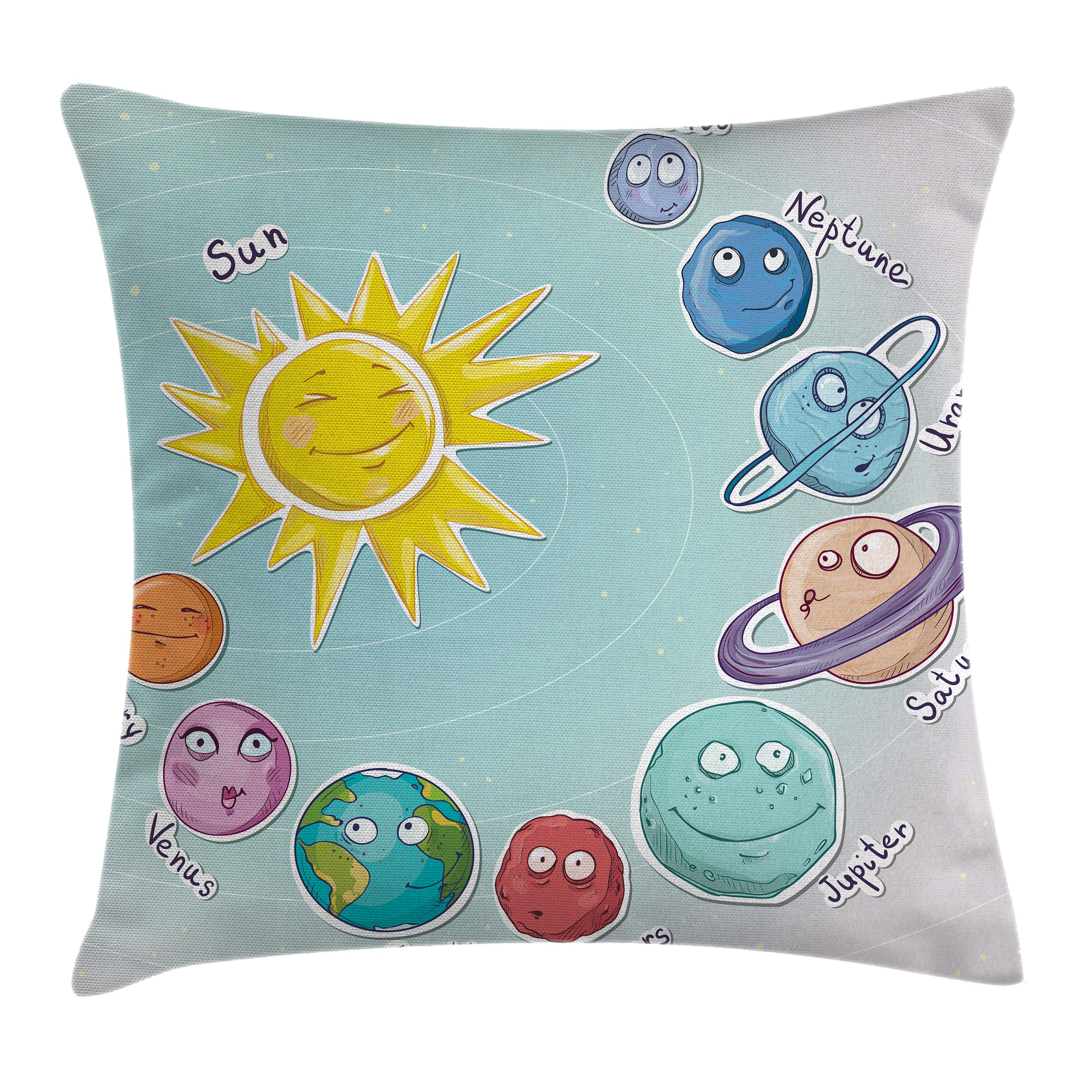 Space Throw Pillow Cushion Cover, Cute Cartoon Sun and Planets of Solar System Fun Celestial Chart Baby Kids Nursery Theme, Decorative Square Accent Pillow Case, 16 X 16 Inches, Multi, by Ambesonne