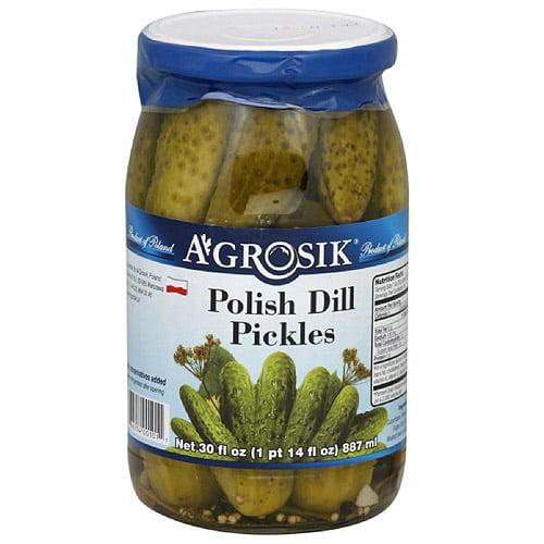 A-GROSIK Polish Dill Pickles, 30 fl oz, (Pack of 12)