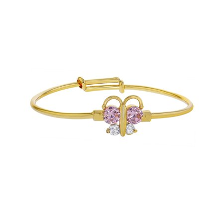 18k Gold Plated Pink Clear Crystal Adjustable Butterfly Baby Bangle Bracelet (60s Jewelry)