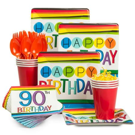 Rainbow 90th Birthday Standard Tableware Kit (Serves 8)](90th Birthday Tableware)