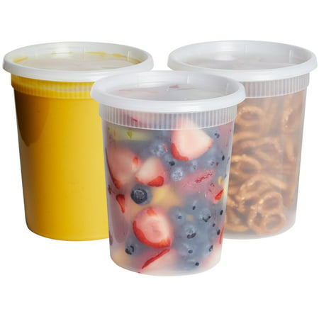 Microwavable, Freezer & Dishwasher Safe, 32 oz. Round Deli Food Storage Containers with Lids (by Comfy Package) Prevents Leaks and spills. [24 -