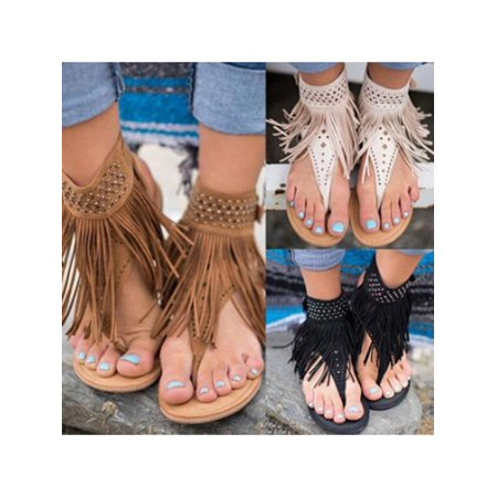 2018 Hot Sale New Women Summer Tassel Flat Gladiator Sandals Bohemian Summer Shoes Flip Flops