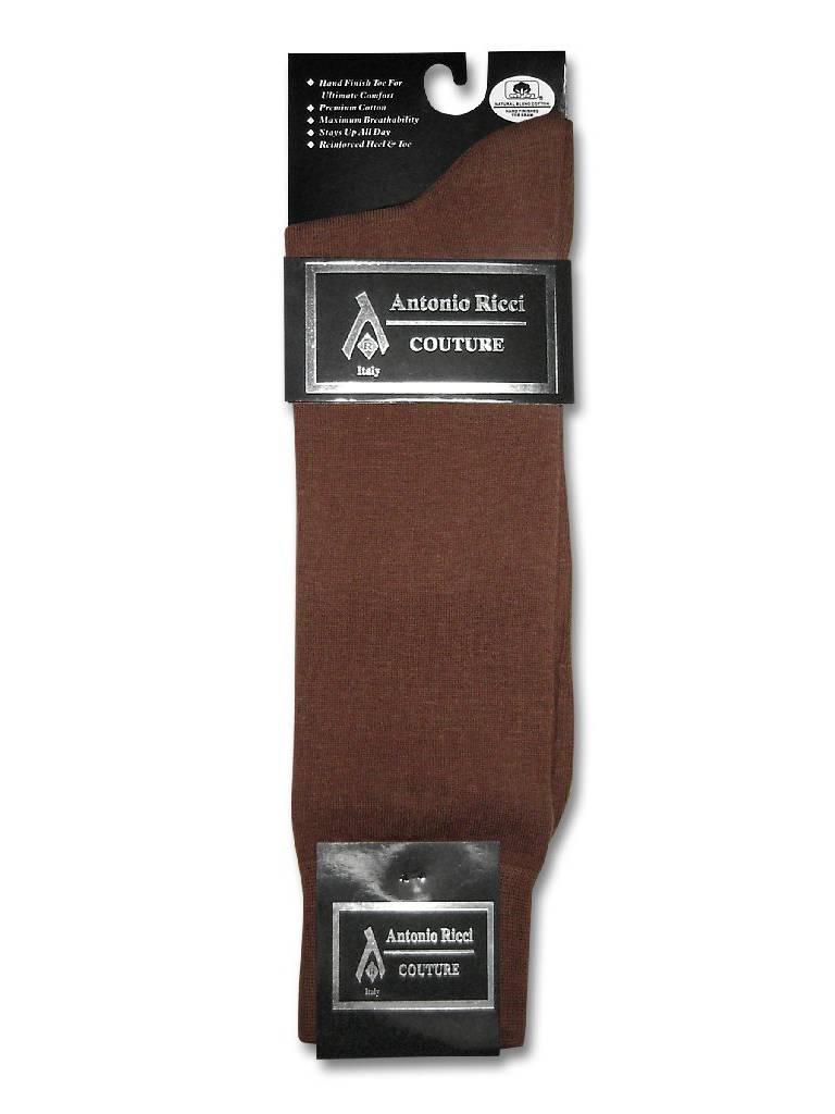 1 Pair of Antonio Ricci Solid COGNAC BROWN Color Men's COTTON Dress SOCKS