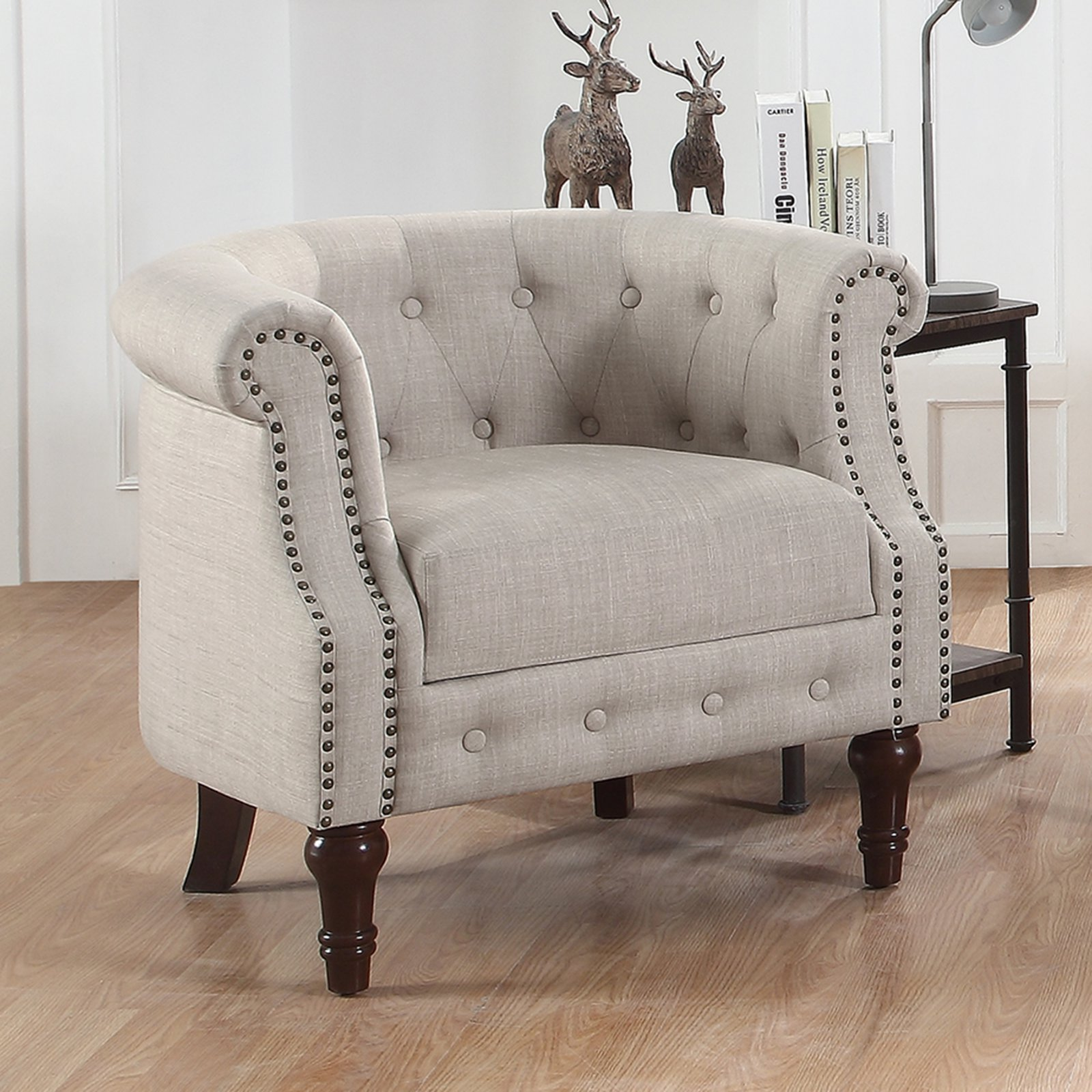Alton Furniture Da Vigo Tufted BarrelClub Chair With Nailhead Trim Arms