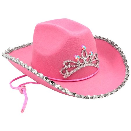 e1280521dd08f Light Up Pink Cowboy Hat LED Tiara Blinking Girls Flashing Cowgirl Rodeo -  image 1 of ...