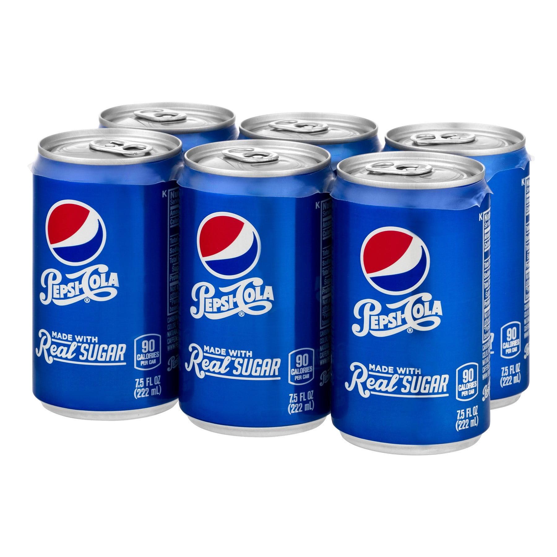 Pepsi with Real Sugar Soda, 7 5 Fl  Oz , 6 Count
