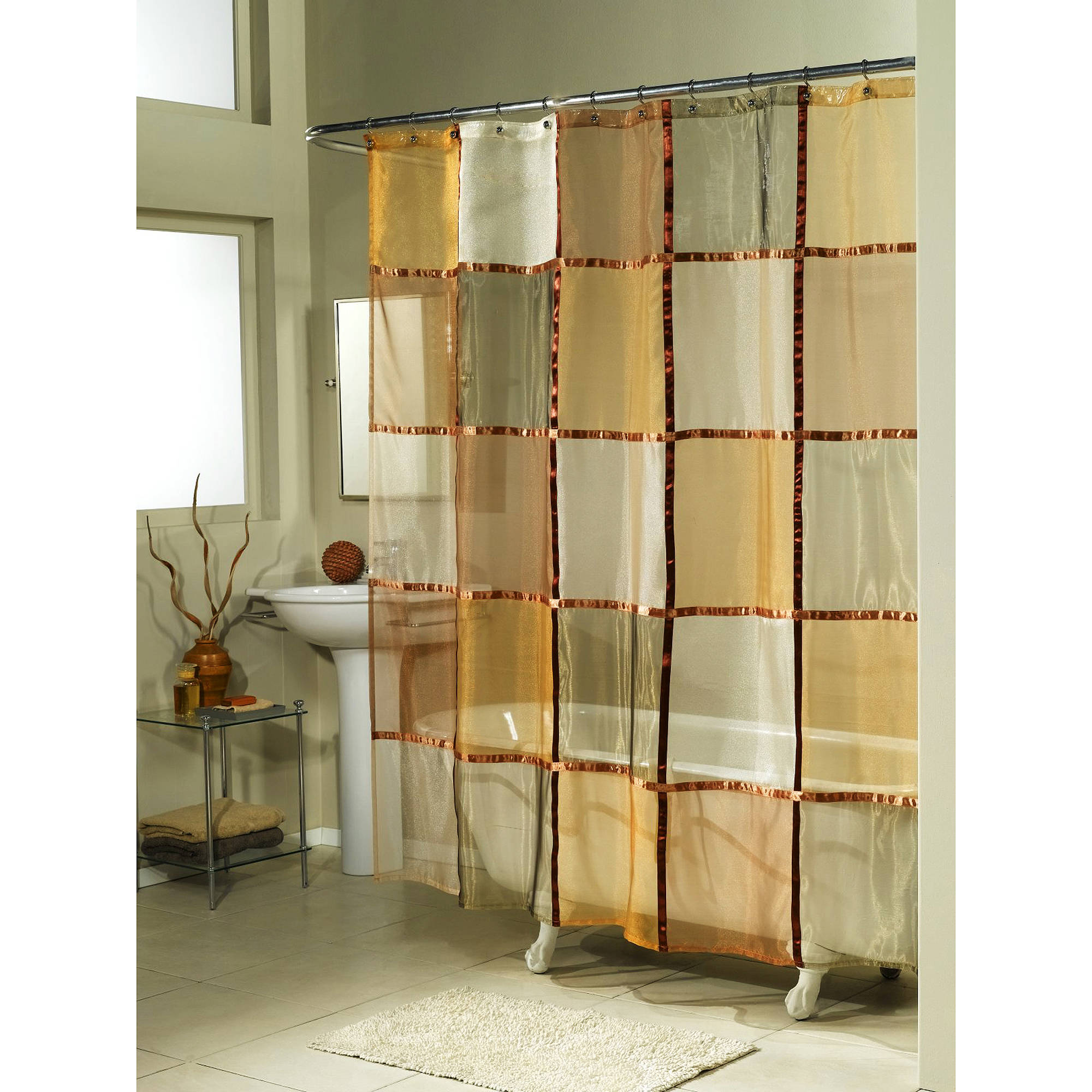 Ex-Cell Home Fashions Mosaic Fabric Shower Curtain, Terra Cotta