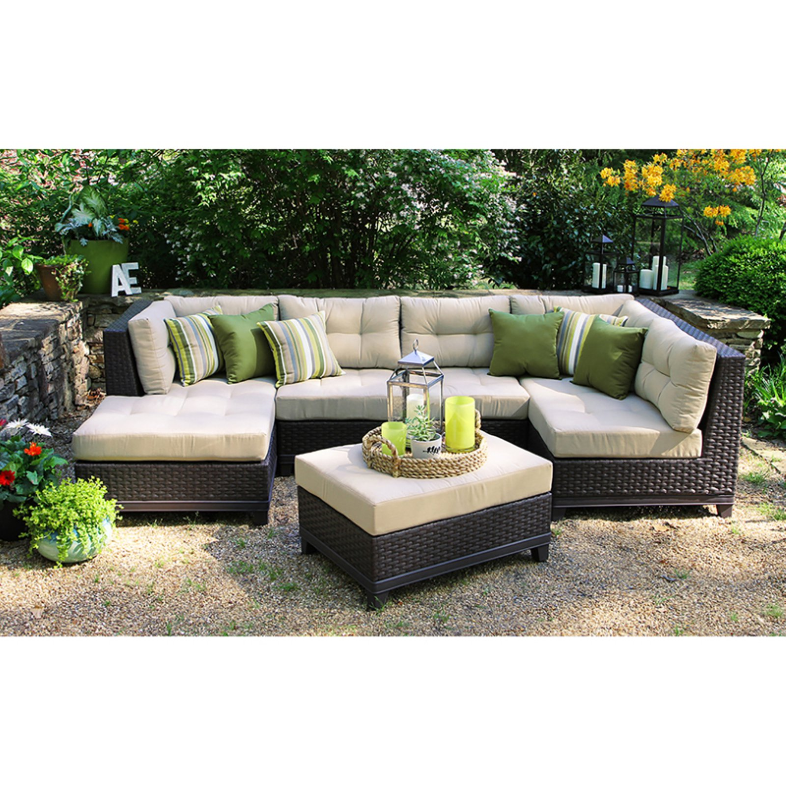 AE Outdoor Hillborough 4 Piece Sectional Conversation Set