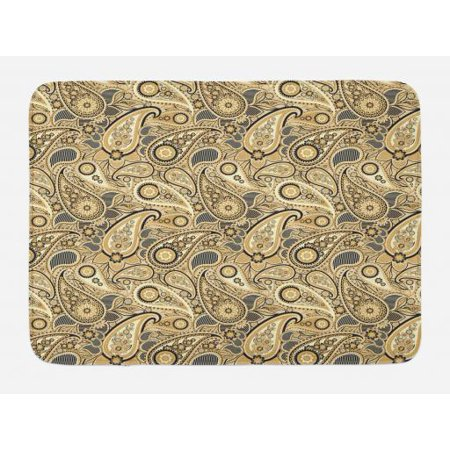 Paisley Pears (Earth Tones Bath Mat, Iranian Pattern Based on Traditional Asian Paisley Welsh Pears, Non-Slip Plush Mat Bathroom Kitchen Laundry Room Decor, 29.5 X 17.5 Inches, Sand Brown Black Beige, Ambesonne )